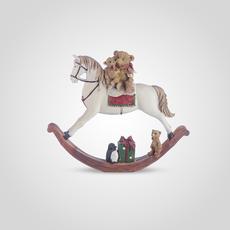 Лошадка-Качалка Новогодняя с Мишками Малая (Полистоун, набор 2шт.) [CLONE]
