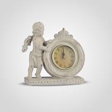 Часы Настольные Ретро с Ангелочками (Полистоун, Белый+Золотистый) [CLONE]