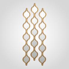 Зеркальное Интерьерное Золотистое Панно-Ромб 100х52 см (Металл) [CLONE]