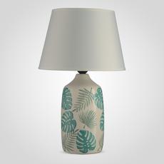 Лампа Настольная Керамическая Кремовая с Зелеными Листьями Монстеры