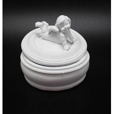Белая декоративная шкатулка с крышкой ангелочек 12*12*10 см ALC08-0011