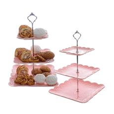 Фруктовница-этажерка квадратная розовая FD8010(роз)