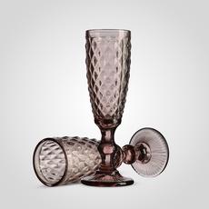 Бокал под шампанское Ромб фиолетовый (набор 6шт)