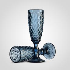 Бокал для шампанского синий (набор 6шт)