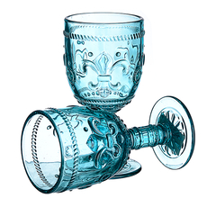 Бокал для вина яркий бирюзовый Лилия (набор 6шт)