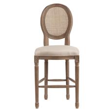 Барный стул Vintage French Round Cane Back Кремовый Лен DG-F-TAB74