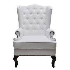 Каминное кресло с ушами Экокожа Белая DG-KA-F-SF04-1