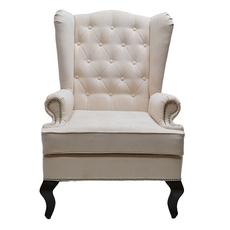 Каминное кресло с ушами Велюр Молочный DG-KA-F-SF04-Akv-02