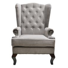 Каминное кресло с ушами Велюр Тёмно-серый DG-KA-F-SF04-Eni-12