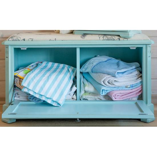 Ящик — сундук — пуфик с мягким сиденьем белый с гобеленовой тканью с фоном голубого цвета ST9393АВ-В