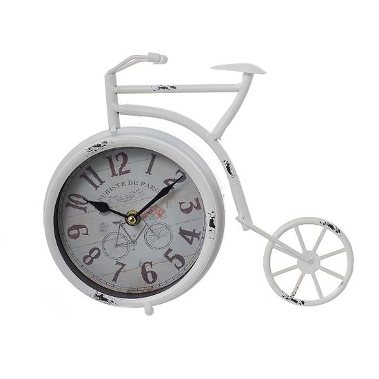 Часы настольные металлические велосипед 28х6х22 3B060-бел