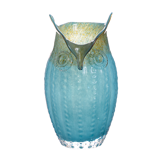 Ваза стеклянная Сова голубая (24х24х35) AF1935(син)