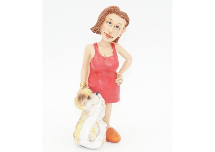 Статуэтка Девушка с щенком 6,5х5,5х15 RM08-0015