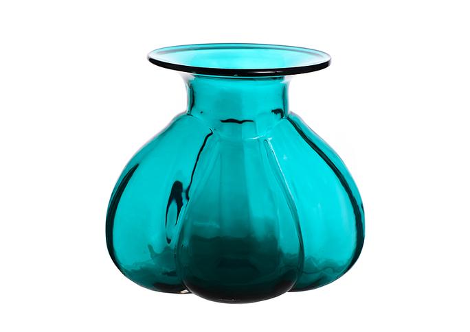Ваза стеклянная голубая 14-07