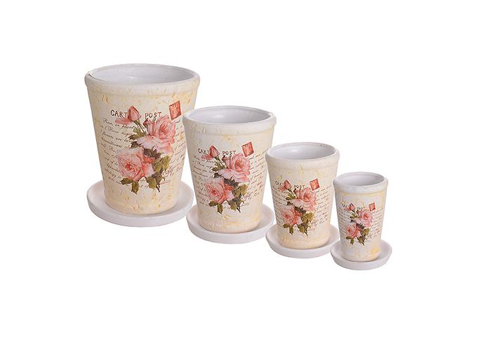 Набор кашпо керамических ROSE (4 шт.) QY891