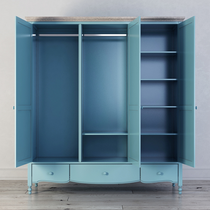 Шкаф трехстворчатый Leblanc, голубой