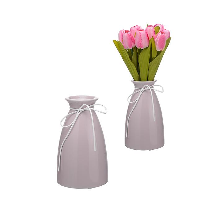 Керамическая Ваза-Бутылка Сиреневый Крем Малая