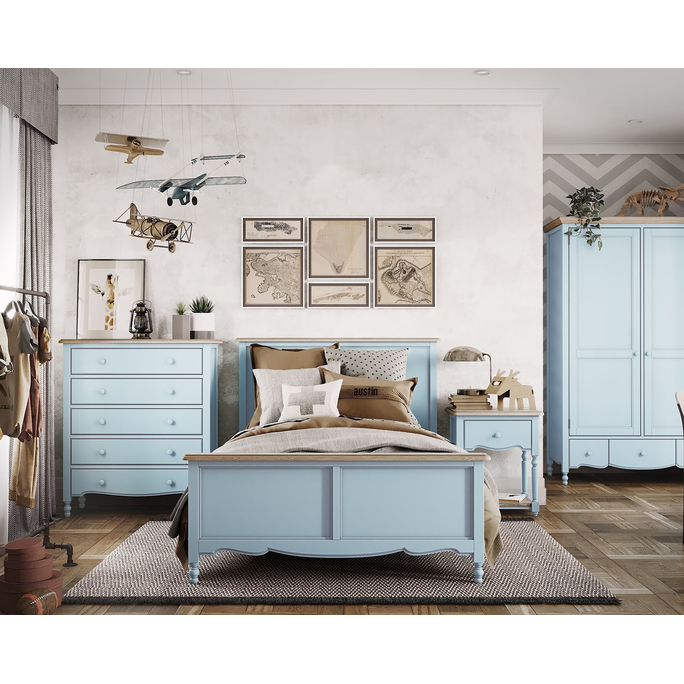 Кровать односпальная Leblanc, голубая