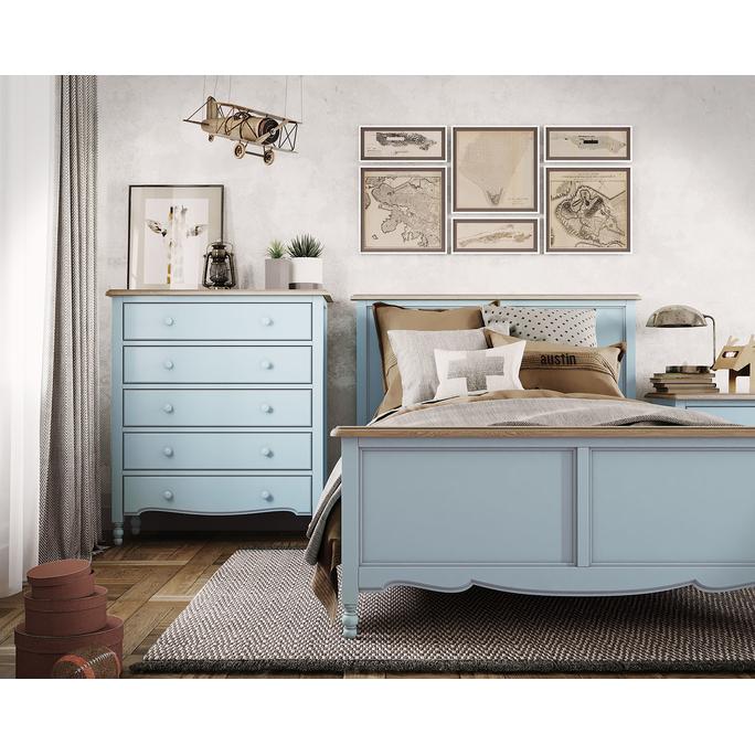 Письменный стол с 3-я ящиками Leblanc, голубой