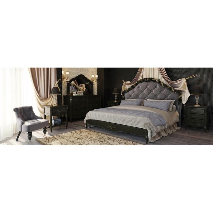 Кровать с мягким изголовьем и золочением 180*200 Nocturne