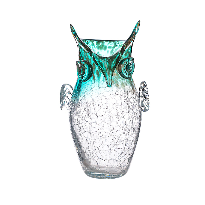 Ваза стеклянная Сова зеленая прозрачная (17х14х30) 161431 (гол)