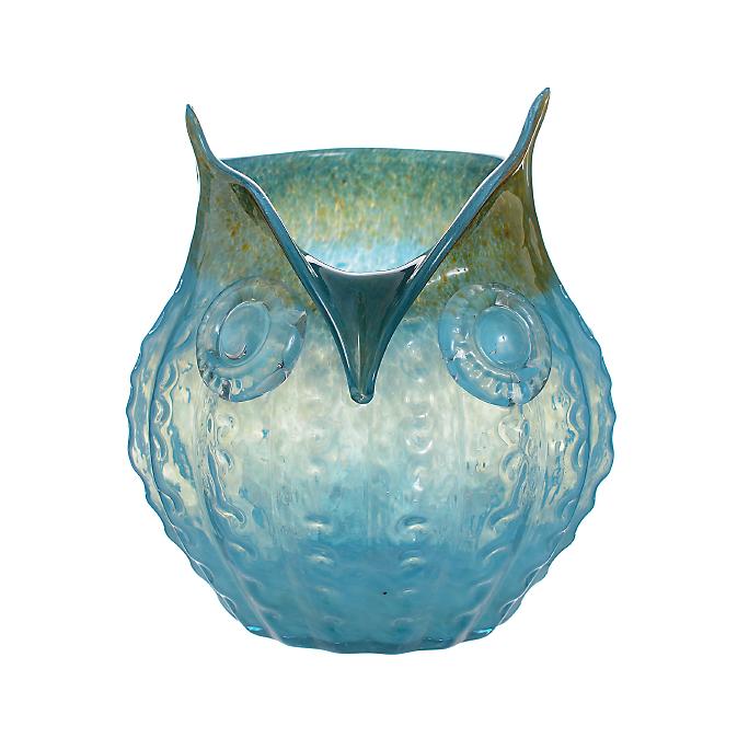 Ваза стеклянная Сова голубая (23х23х22) AF1924 (син)