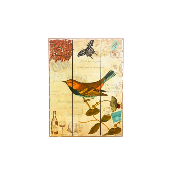 Панно коричневая птица 30х40 H2/6