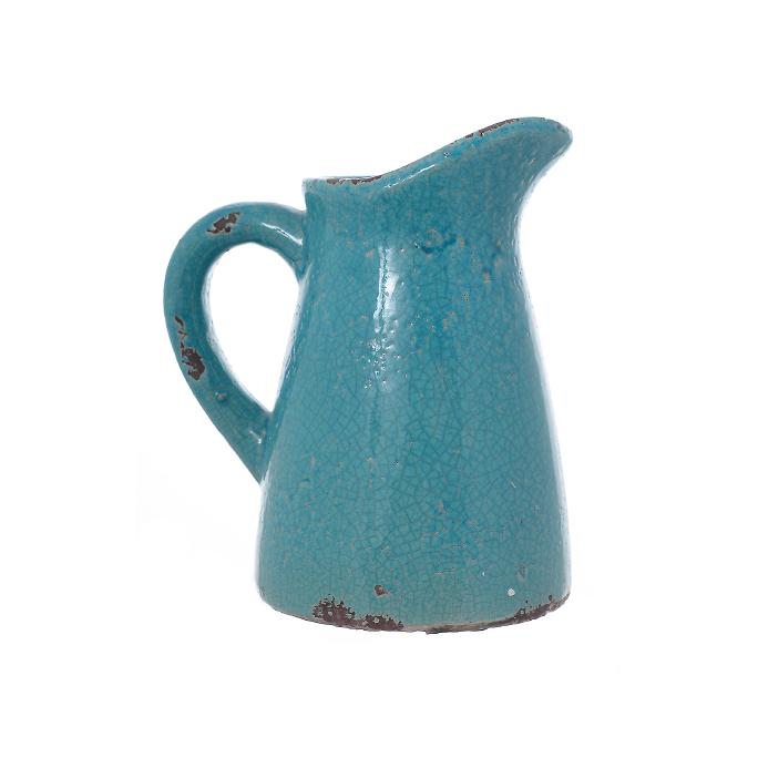 Ваза-кувшин керамический голубой/белый JKZ40