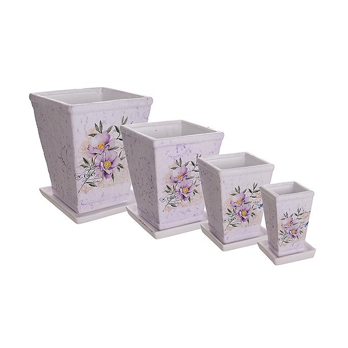 Набор кашпо керамических ROSE (4 шт.) QY890