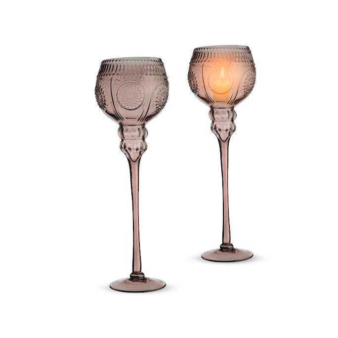 Подсвечник стеклянный Розовое солнце (40см) TM0143-PU