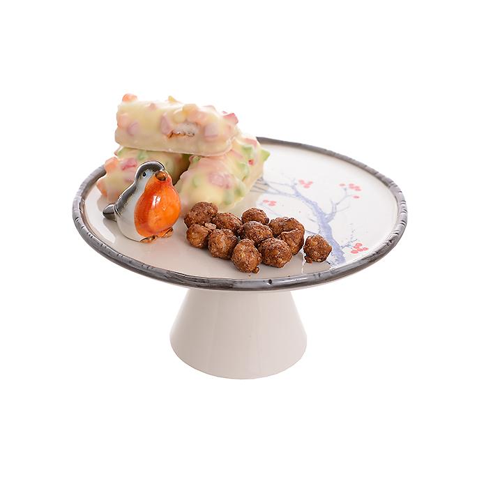 Керамическая тортница Птичка на рябине (17см) 1715402