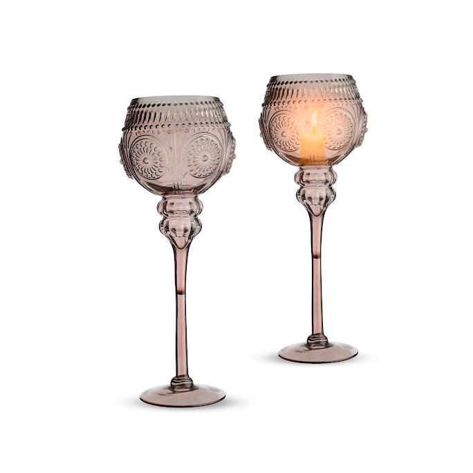 Подсвечник стеклянный Розовое солнце (35см) TM0144-PU