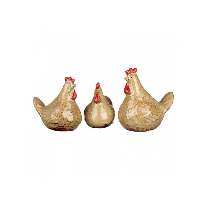 Фигурки керамические 3 курочки 9,5х12,5х14/8х10,5х12/7х9х10,5 IU99-0042
