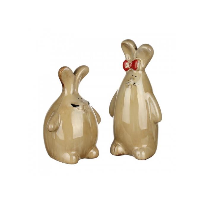 Фигурки керамические заяц с зайчихой 9х6х17,5/10,5х18х14 IU99-0043