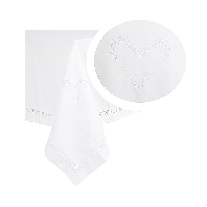 Скатерть белая с вышивкой 150х150 2536-119F