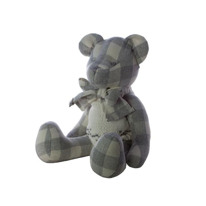 Мишка в одежде в клетку 40 см. L1304001G
