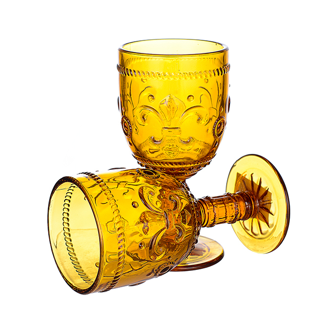 Бокал для вина яркий желтый Лилия (набор 6шт)