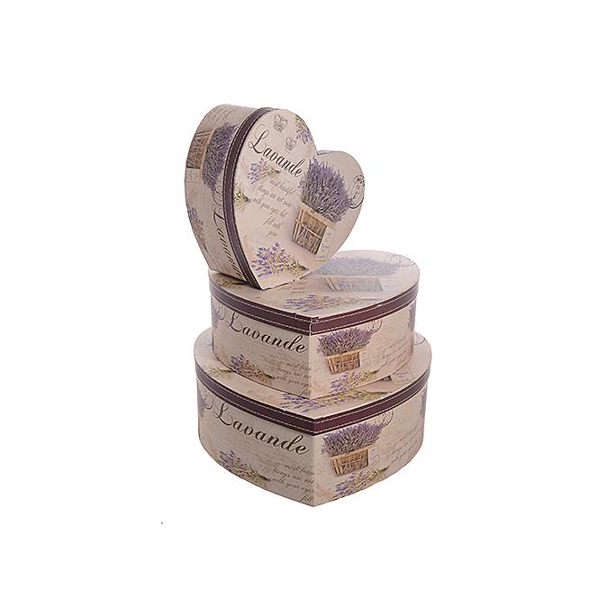 Набор коробок сердце Лаванда 3 шт W8838