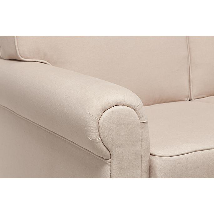 Диван The Pettite Lancaster Upholstered Sofa Кремовый Лен DG-F-SF362