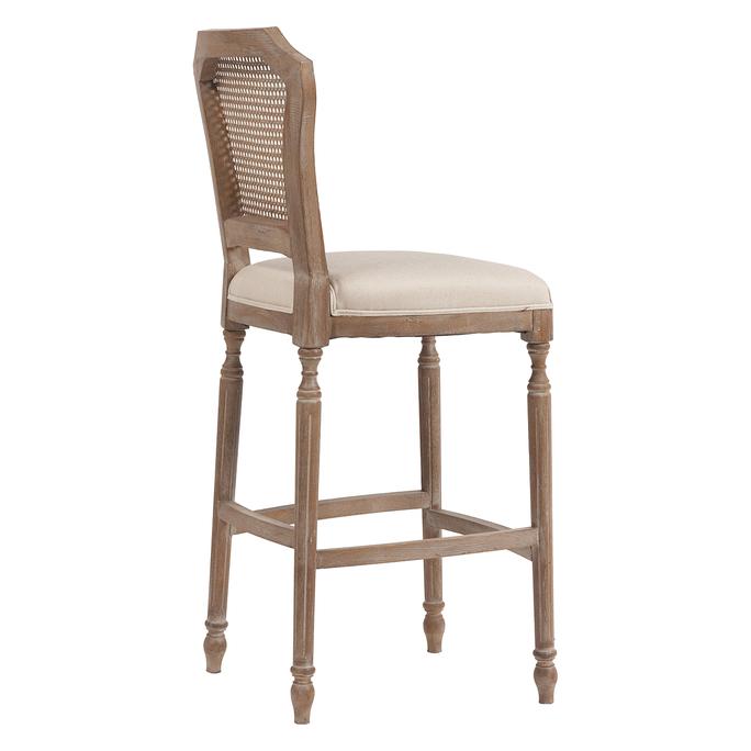 Барный стул Vintage French Nailhead Cane Back Кремовый Лен DG-F-TAB75
